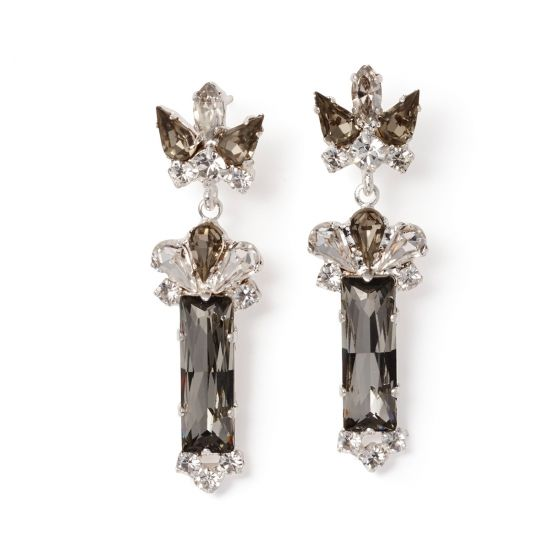 Keren Wolf Crystal baguette earrings-2