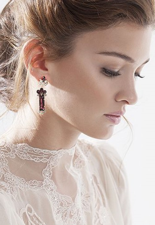 Keren Wolf Crystal baguette earrings