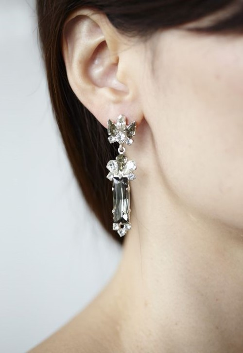 Keren Wolf Crystal baguette earrings-1
