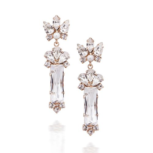 Keren Wolf Crystal baguette earrings-3