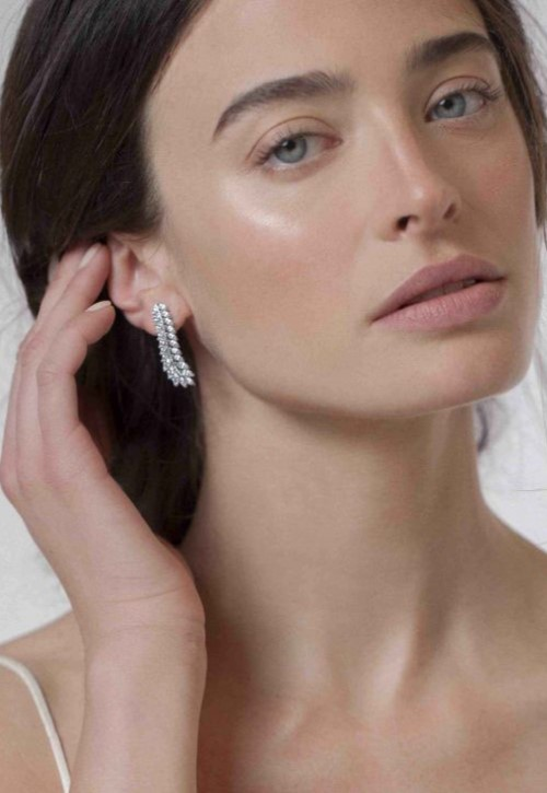 Keren Wolf Delicate crystal feather earrings