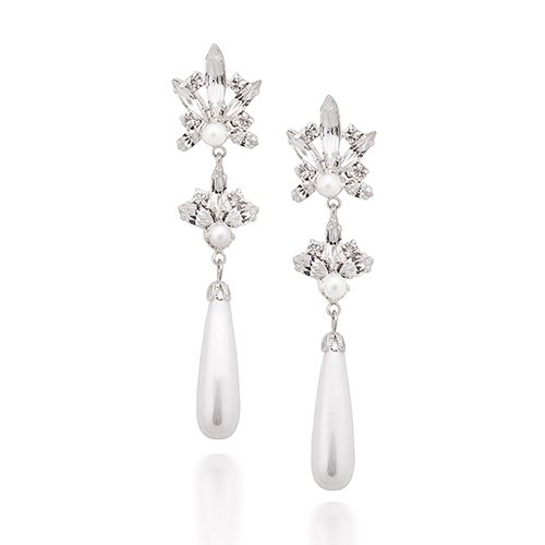 Keren Wolf Crystal Pearl Drop Earrings
